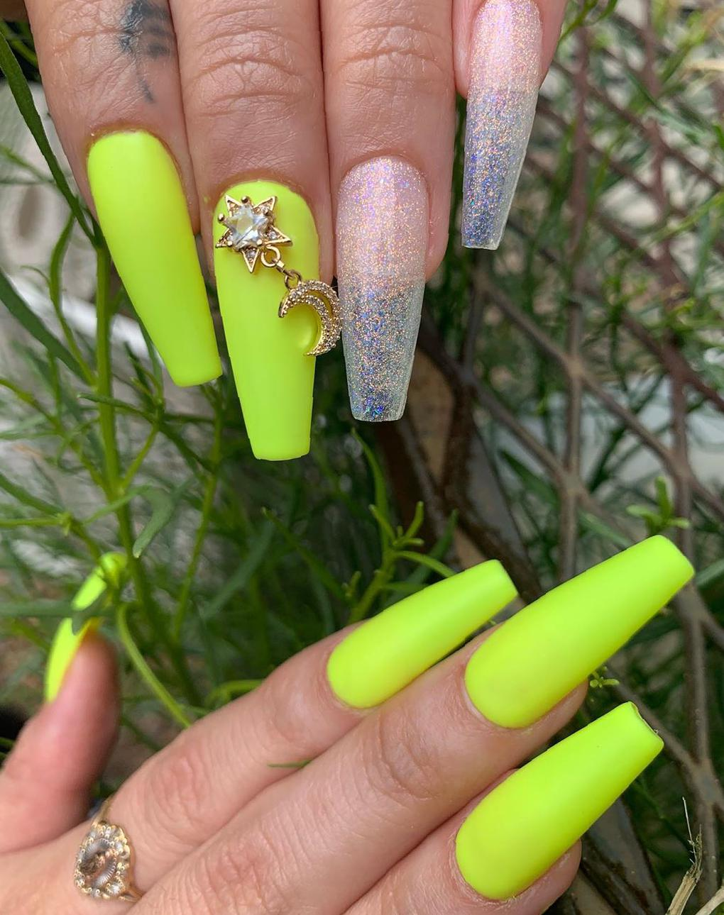 37 Stunning Trend Nails Design Ideas For a Summer Coffin Nails 2020 coffin nails,long coffin nails,coffin nails 2020,coffin nails trendy,summer nails ideas,coffin nails with glitter,cute coffin nails,bold coffin nails designs