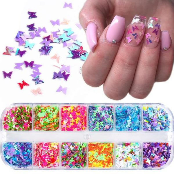 Mirror Sparkly Butterfly Nail Sequins VT202026 - Vettsy